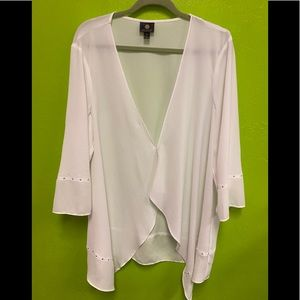 JW Collection Sheer White Blouse Embellished XXL